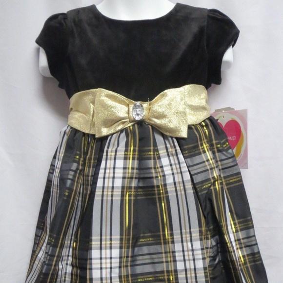dc200ddaaed28 Youngland Dresses | Girl Velvet Plaid Taffeta Holiday Dress Size 4 ...